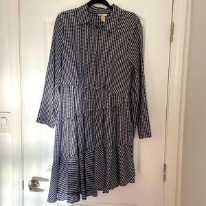 H&M black & white gingham asymmetric dress size 12